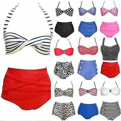 UK Beach Style Vintage High Waist Halterneck Top Bikini Set padded Swimwear