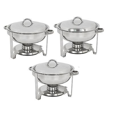 Chafing Dish 5 Quart Stainless Steel Full Size Tray Buffet Catering 3 Pack Round Business & Industrial