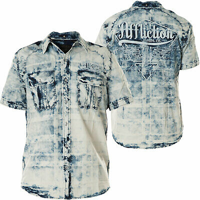 AFFLICTION Mens Button Down Shirt IDLE Embroidered BLUE American Customs $78 NWT - Embroidered Button Shirt