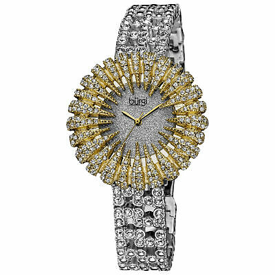 New Women's Burgi BUR054YG Dazzling Crystal-Accented Two-tone Bracelet Watch
