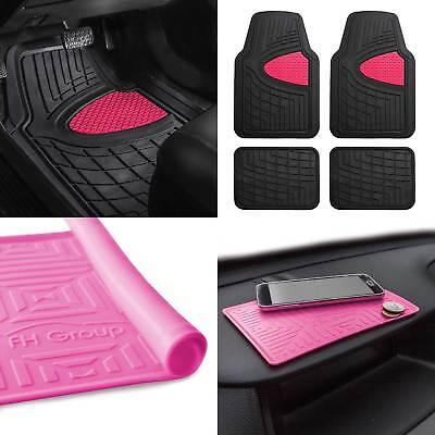 All Weather Car Floor Mats for Auto Sedan SUV Custom Fit Pink Black wDash Mat