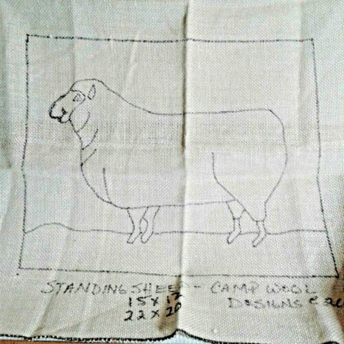 L STANDING SHEEP RUG HOOKING PATTERN -  Camp Wool Designs on LINEN 12 x 14 inch
