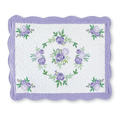 rose garland quilted scalloped pillow sham lavender