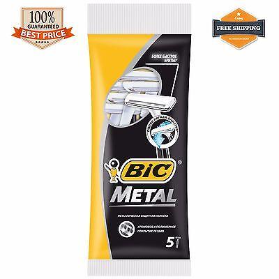 BIC Disposable Metal Shaving Razor 1 blade 5 Razors Classic Shaver