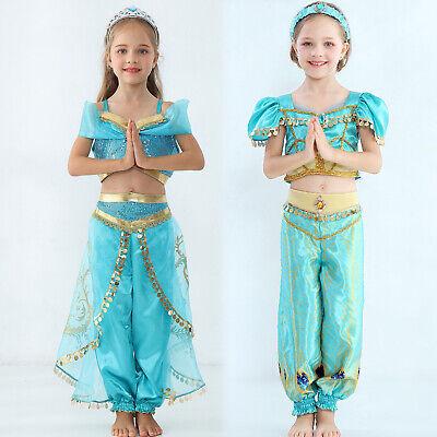 Aladdin Prinzessin Jasmine Cosplay Kostüm Kinder Mädchen Sommer Party Outfit Set