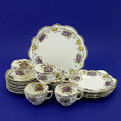 Mayer & Sherratt Melba China Daisy Shape Teaset (Cups, Saucers, Plates)19 pieces