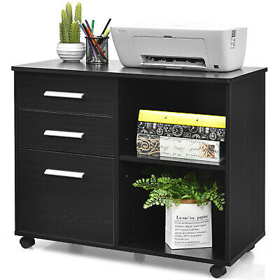 Costway 3-drawer File Cabinet Mobile Lateral Storage Shelf Printer Stand Black