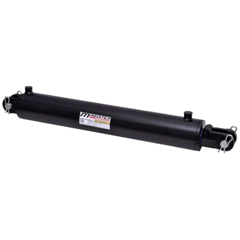 """Hydraulic Cylinder Welded Double Acting 4"""" Bore 24"""" Stroke Clevis End 4x24 NEW"""