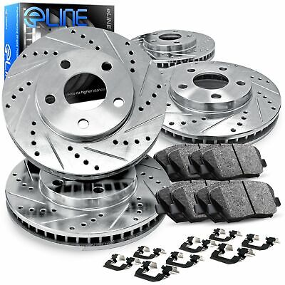 For 2012-2017 Audi S4,S5,Q5 Front Rear Drill/Slot Brake Rotors+Ceramic Pads