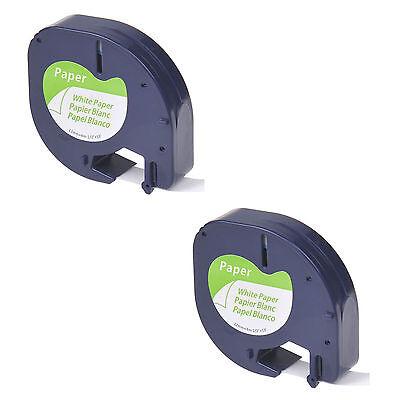 2pk For Dymo Letra Tag Tape Lt 91330 Label Tape Black On White Paper Plus Lt100h