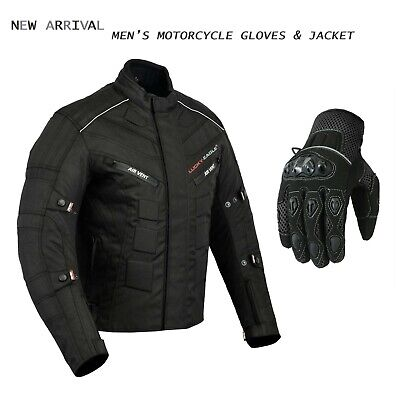Best Motorcycle Textile Jacket for Stylish Ride CE Armoured with Summer Gloves (Best Bike Riding Gloves)