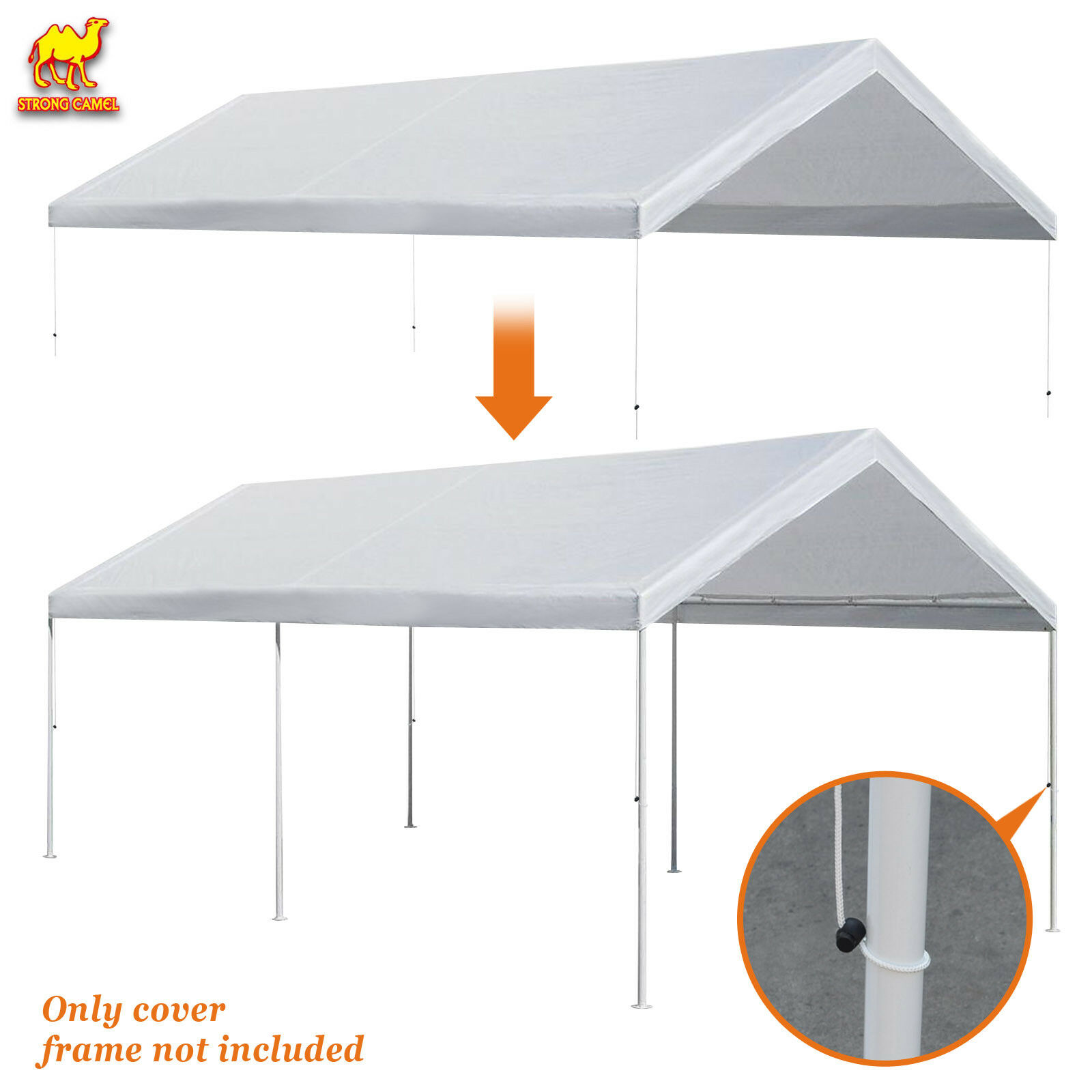 10x20' Carport Replacment Canopy Tent Top Garage Cover w Bal
