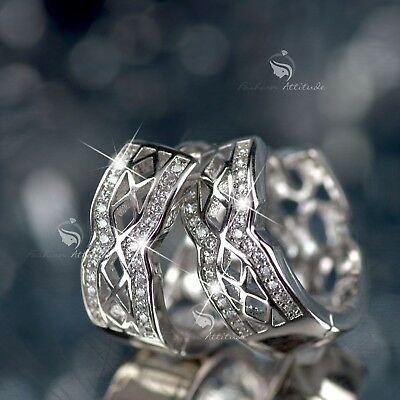 (18k White gold gf made with swarovski crystal filigree huggies earrings)