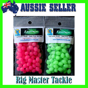 Fishing Lumo Soft Glow Beads Green & Pink Oval  6mm 200 Mixed