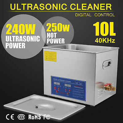 Stainless Steel 10 L Liter Industry Heated Ultrasonic Cleaner Heater Wtimer