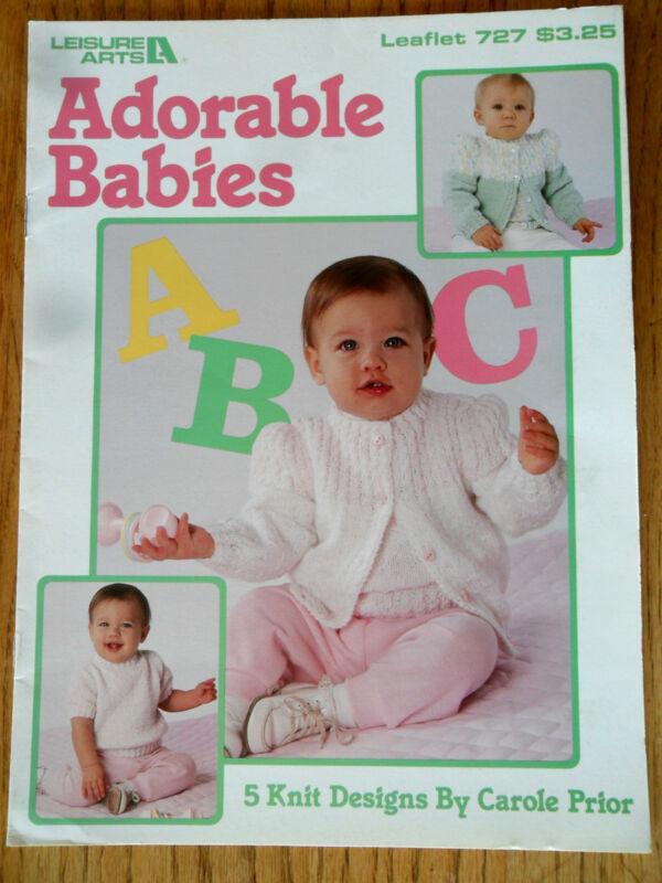 Adorable Babies Leisure Arts 727 Baby Knit Sweaters Crewneck Boatneck Cardigan
