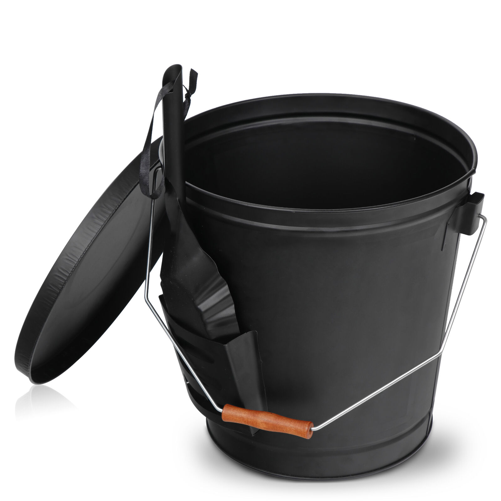 Black Metal Fireplace Ash Bucket With Shovel Lid Cover Fire Pits Stove Sturdy Fireplaces & Stoves