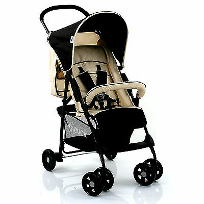HAUCK ALMOND / CAVIAR SPORT PUSHCHAIR LIGHTWEIGHT BABY STROLLER BUGGY FROM BIRTH