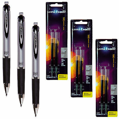 Uni-Ball Signo Impact 207 RT 65870 With Refills 65873, Black Gel Ink, 1.0mm Bold