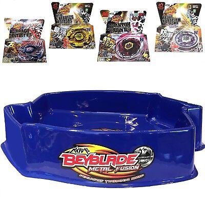 Ultimate Large Blue Pegasus Beystadium Set 4 Beyblades w/ Launchers + Stadium