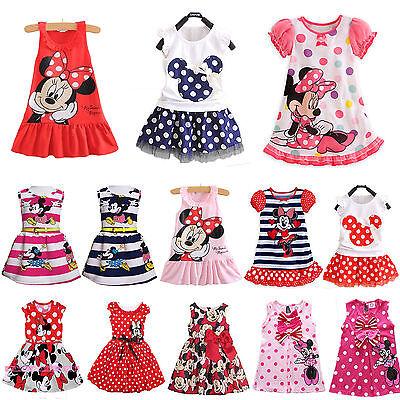 Kids Red Dresses (Kids Girls Cartoon Minnie Mouse Party Dress Sleeveless Vest Skirt Clothes)