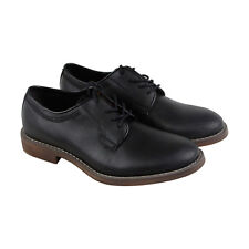 Calvin Klein Oran Coated Mens Black Canvas Casual Dress Lace Up Oxfords Shoes