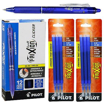 Pilot Frixion Clicker Erasable Blue Gel Ink Pens 12 Pens With 2 Pk Of Refills