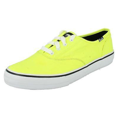 Keds Double Dutch WF46805 Ladies Neon Yellow Lace Up Canvas Shoe  (R43B)