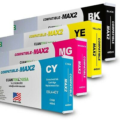 4 X 400ml Roland Ecosol Max2 Compatible Ink Cartridges Set Cmyk - Made In Usa