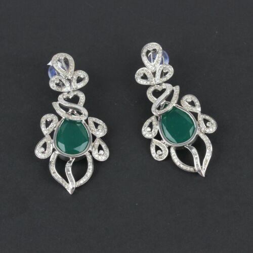 14k Gold Green Onyx Gemstone Pendant Earrings SET Diamond Pave Silver Jewelry