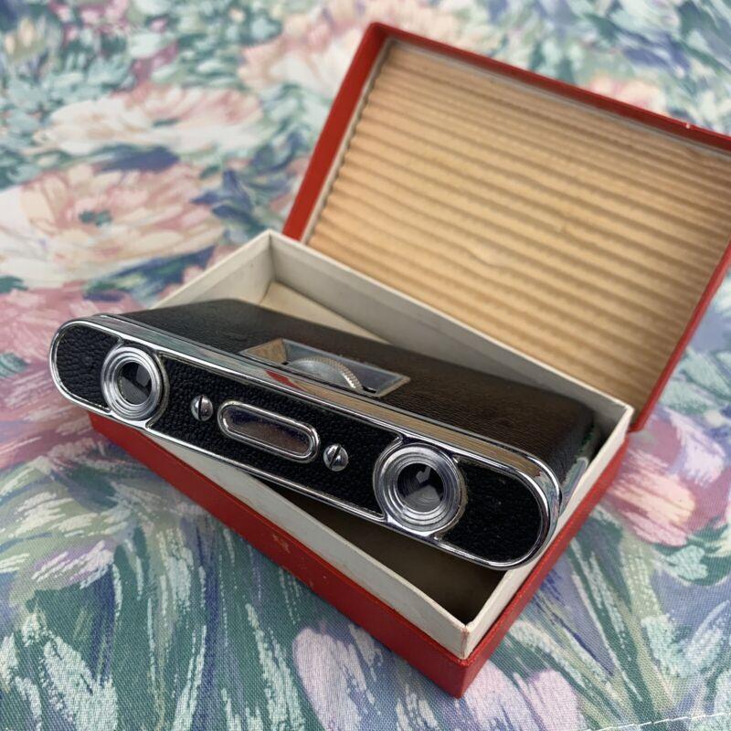 Vintage Dove Opera Glasses Folding Binoculars Black In Box Japan New Old Stock