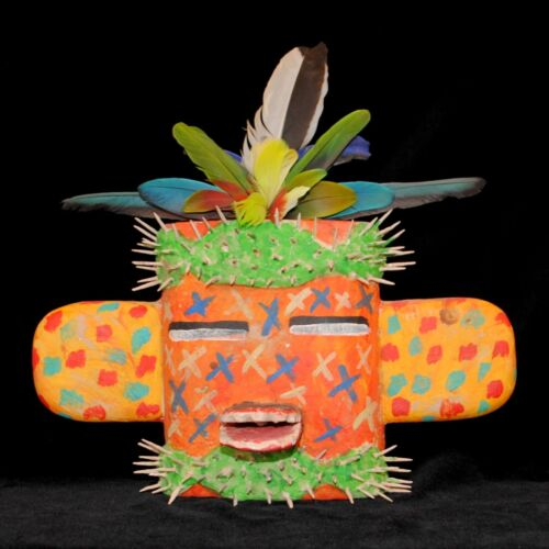 Hopi Folk Art Mask by Gregory Lomayesva, Hand-Painted Wood & Feathers