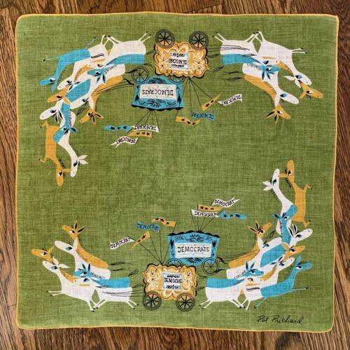 🏞 PAT PRICHARD Vintage Linen Handkerchief DEMOCRATS DONKEYS Political