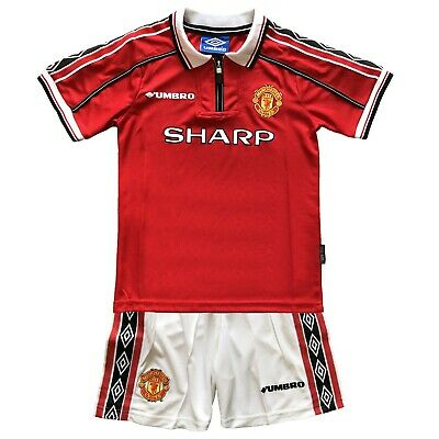 Retro Jersey Manchester United 1998-1999 Kids Home Football Kit Boys Soccer Kits