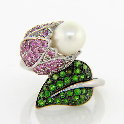 Sterling Silver Flower/Leaf Ring Sz. 6: Cultured Pearl, Diopside & Pink Sapphire Pink Pearl Flower Ring