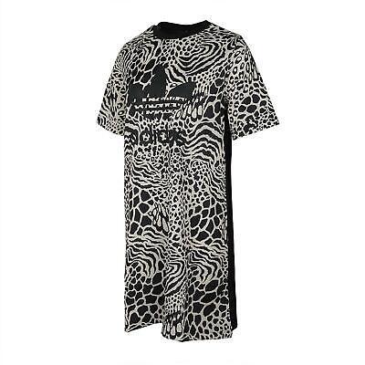 Adidas Womens Print Dress T-Shirt Tee Leopard DV0120