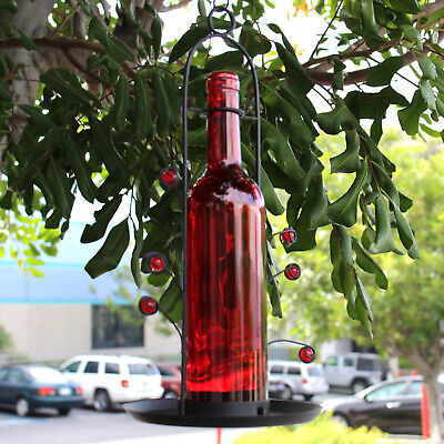 Bird Seed Cafe Feeder Wine Bottle Hanging Vino Great Gift Bottom Fill Red NEW