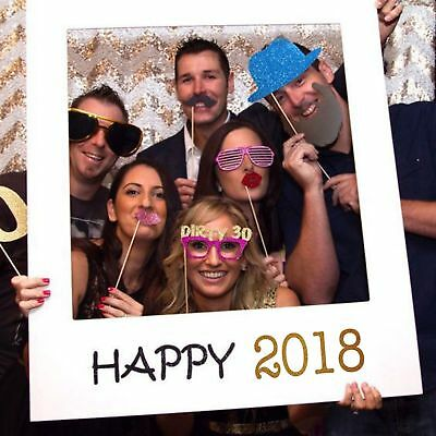 2018 Happy New Year Frame Photo Booth Props Paper Party Supply Accessory