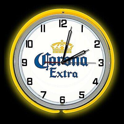 "19"" Corona Extra Beer Sign Double Neon Clock Yellow Neon Man Cave Bar Garage"