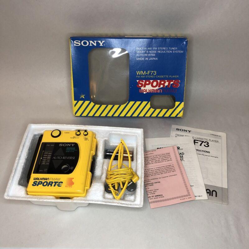 Rare SONY WALKMAN SPORTS Model WM-F73 1980s AM/FM CASSETTE Japan BOX + PAPERS