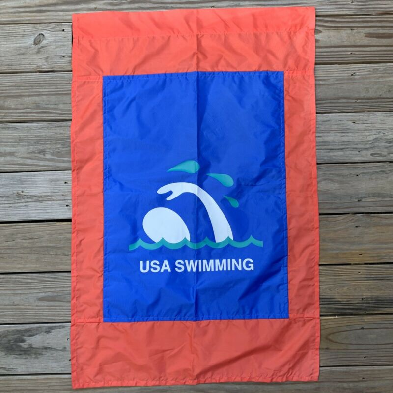 "USA Swimming Spell Out Flag Banner Red Blue White Nylon Team 43"" x 28"" Made USA"