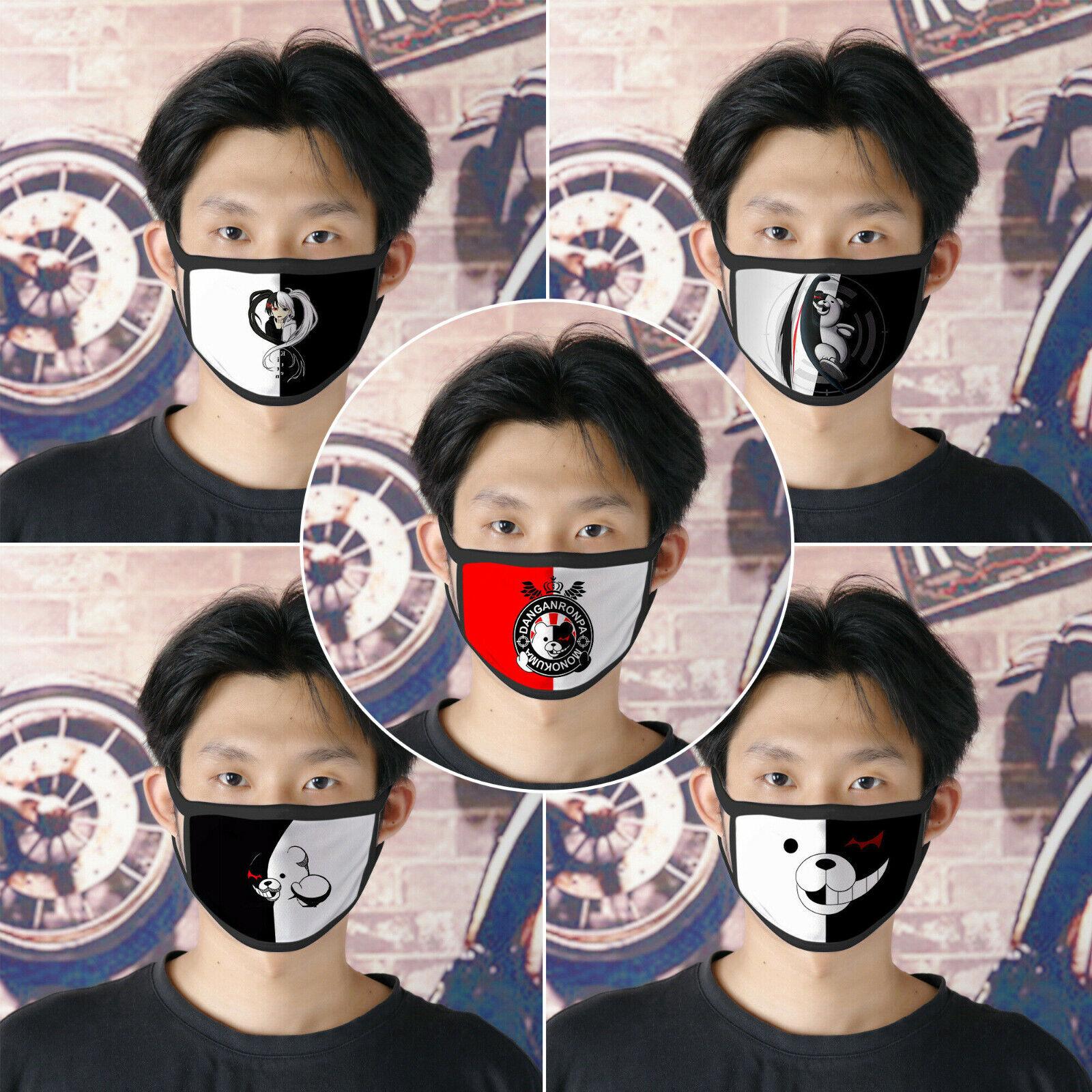 5 pcs Danganronpa Monokuma Black White Bear Half Face Cotton Masks Mouth Cover Accessories