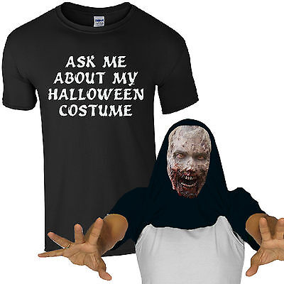 Ask Me About My Halloween Costume Freaky Zombie T-Shirt Scary Face Mens Flip - Freaky Zombie Kostüm