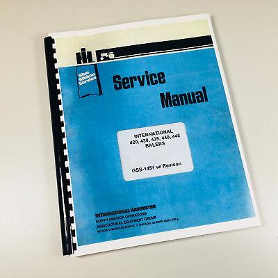 International 420 430 435 440 445 Baler Service Repair Shop Manual Technical Ih