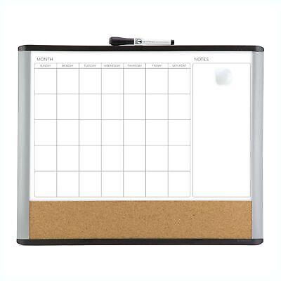 U Brands Magnetic Dry Erase 3-in-1 Calendar Board 16 X 20 Inches Mod Black...