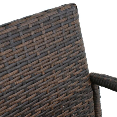 Set of 2 Outdoor Wicker Rattan Bar Stool Set Furniture Club Chairs Outdoor Patio Benches, Stools & Bar Stools
