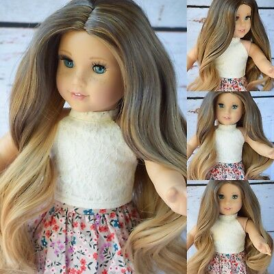 "11"" Custom Doll Wig for 18"" American Girl doll H Gotz rainbow Wig 10-11"" Cap"