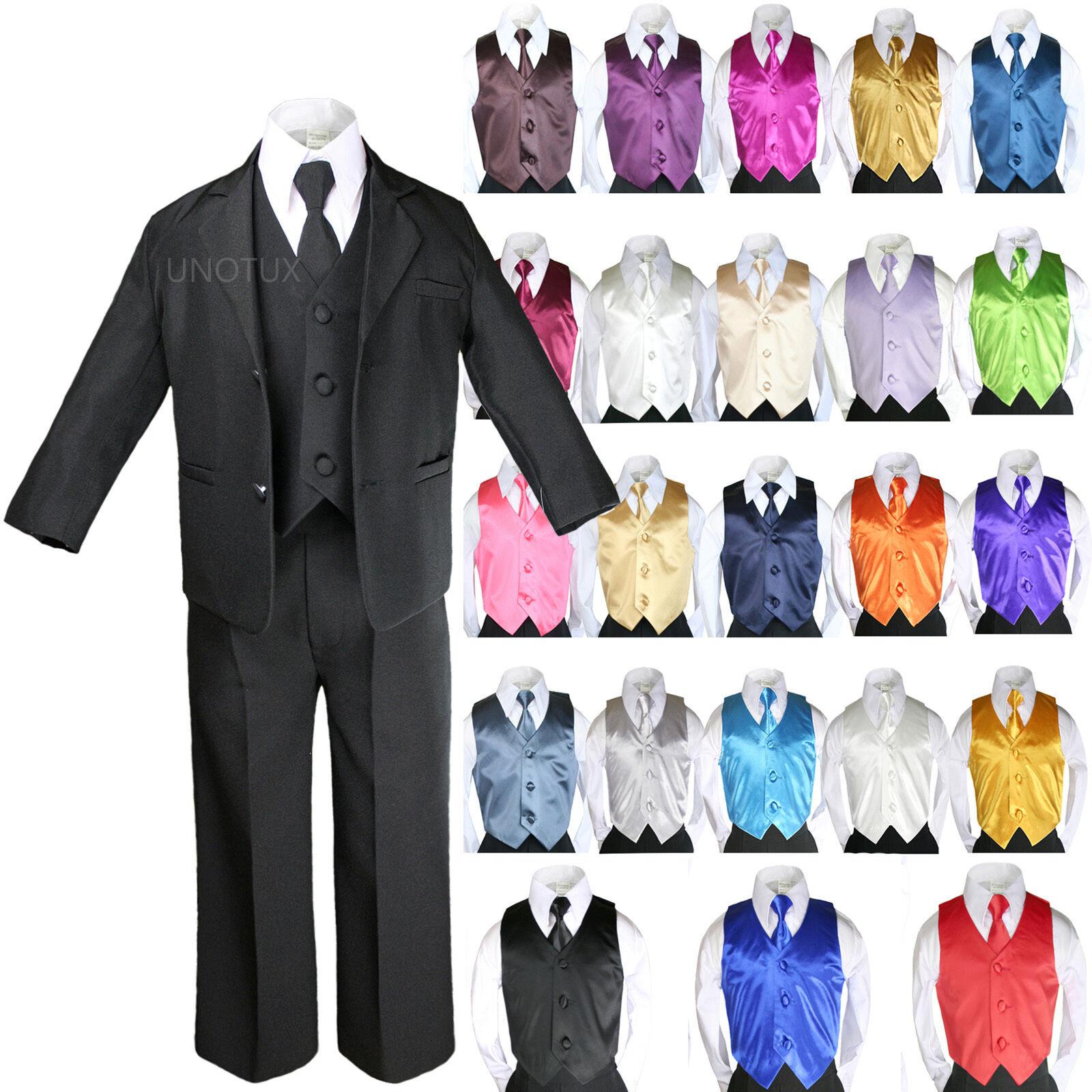 Baby Boys Formal Party Black 7-pc Suits Sets Color Vest T...