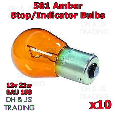 10 x 581 Amber Front Indicator Light Bulbs Car Auto Vauxhall Meriva A 03 - 10