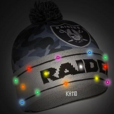 Oakland Raiders NFL Big Logo Camoflage 2017 Light Up Beanie for sale  Shipping to Canada